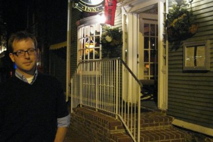 after a delicious French dinner at Bouchard Restaurant in Newport, RI