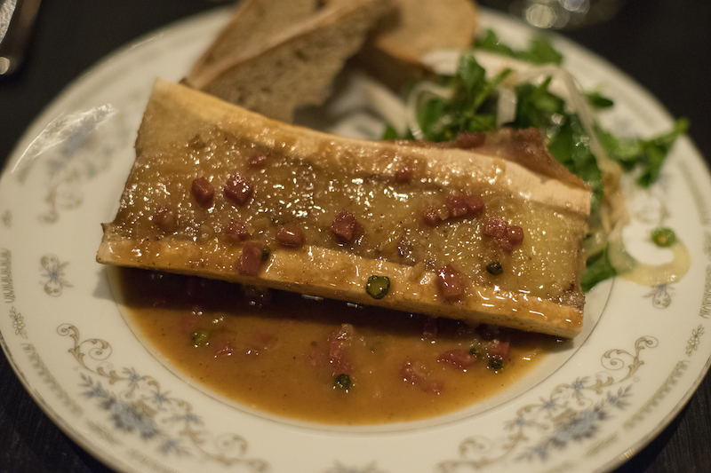 smoked bone marrow at L'Orignal