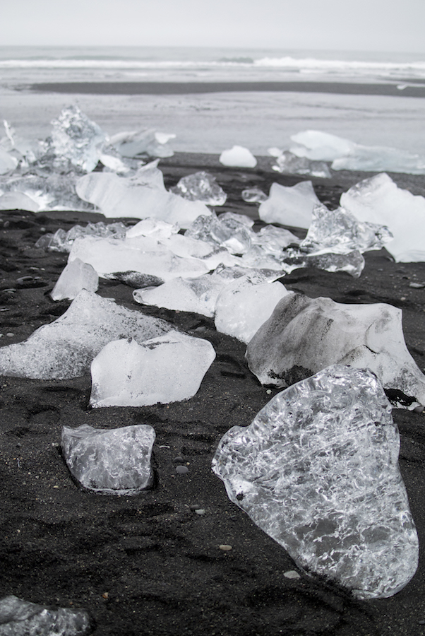 ice diamonds on the beach