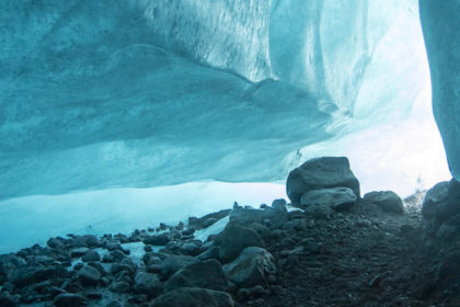 inside an ice cave under the glacier
