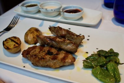 grilled Iberian pork tenderloin with 3 sauces at 9 Nine