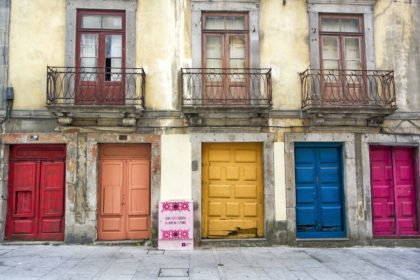colourful doors along Rua das Flores