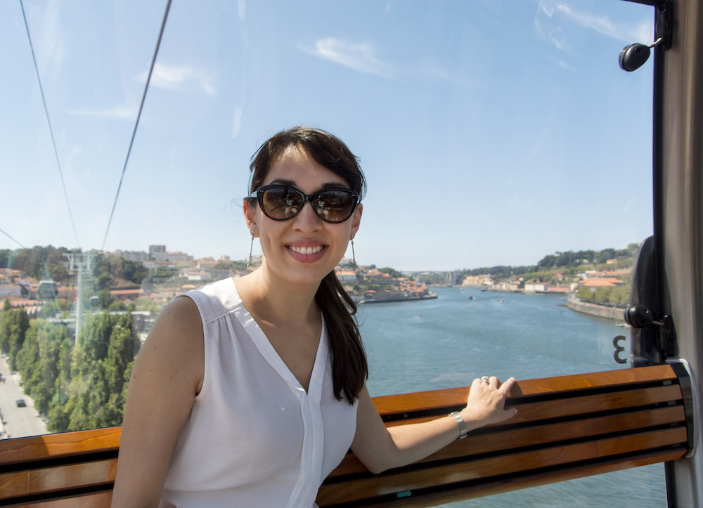 riding the gondola in Vila Nova de Gaia