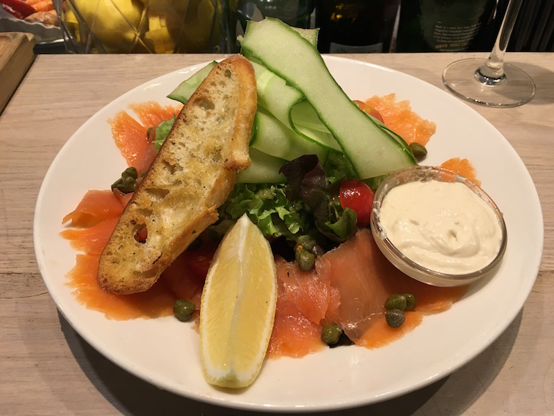 smoked salmon salad with horseradish sauce at The Seafood Bar