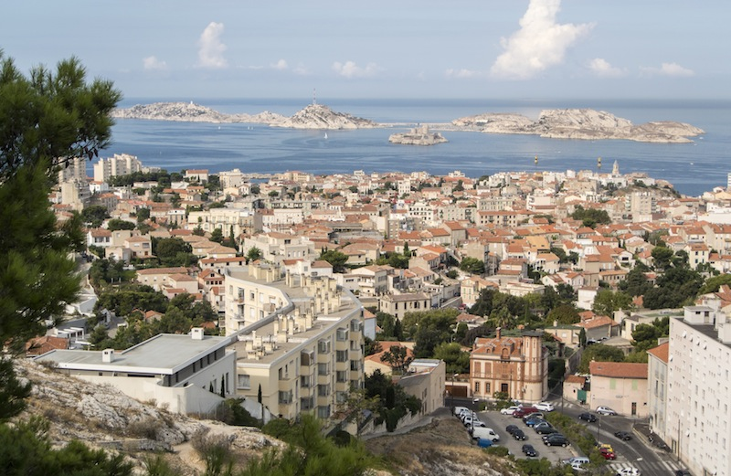 view of Chateau d'If from Notre Dame de la Garde